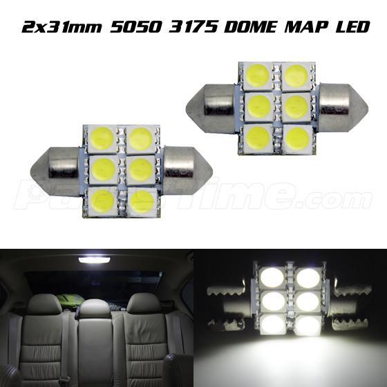 2x Super Bright Light White LED Bulbs 31mm 6SMD Festoon