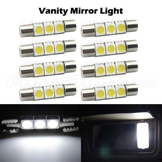 8x 12v white 29mm 5050 smd 6641 led vanity mirror sun visor led light bulbs 3. Black Bedroom Furniture Sets. Home Design Ideas