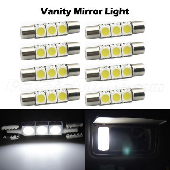 8pc 3 smd 6641 led fuse bulbs for car sun visor vanity mirror lights xenon white ebay. Black Bedroom Furniture Sets. Home Design Ideas