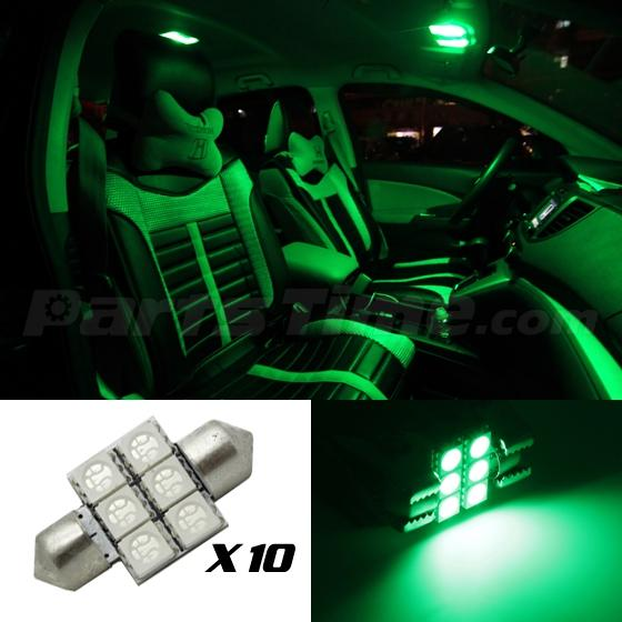 10 X Green 6smd Led Map Dome Interior Lights Bulbs 31mm Festoon De3022 Ebay
