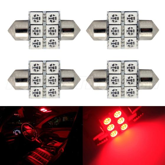4x Led 6smd Courtesy Interior Light Bulb Festoon Dome Map Lamp 31mm Red Ebay