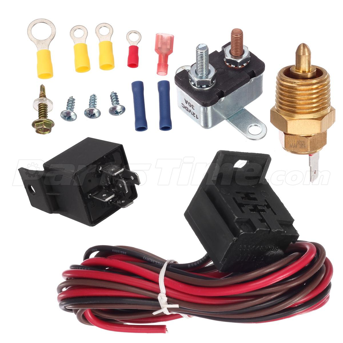 200 degree engine cooling thermostat sensor relay kit for single or dual fan ebay - Four 200 degres thermostat ...