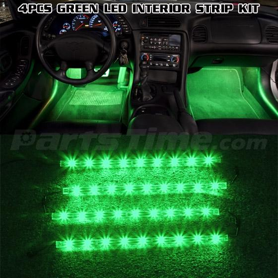 Green Universal Car Interior Light Kit Neon Accent 12v Led Strips 36leds 4pcs Ebay