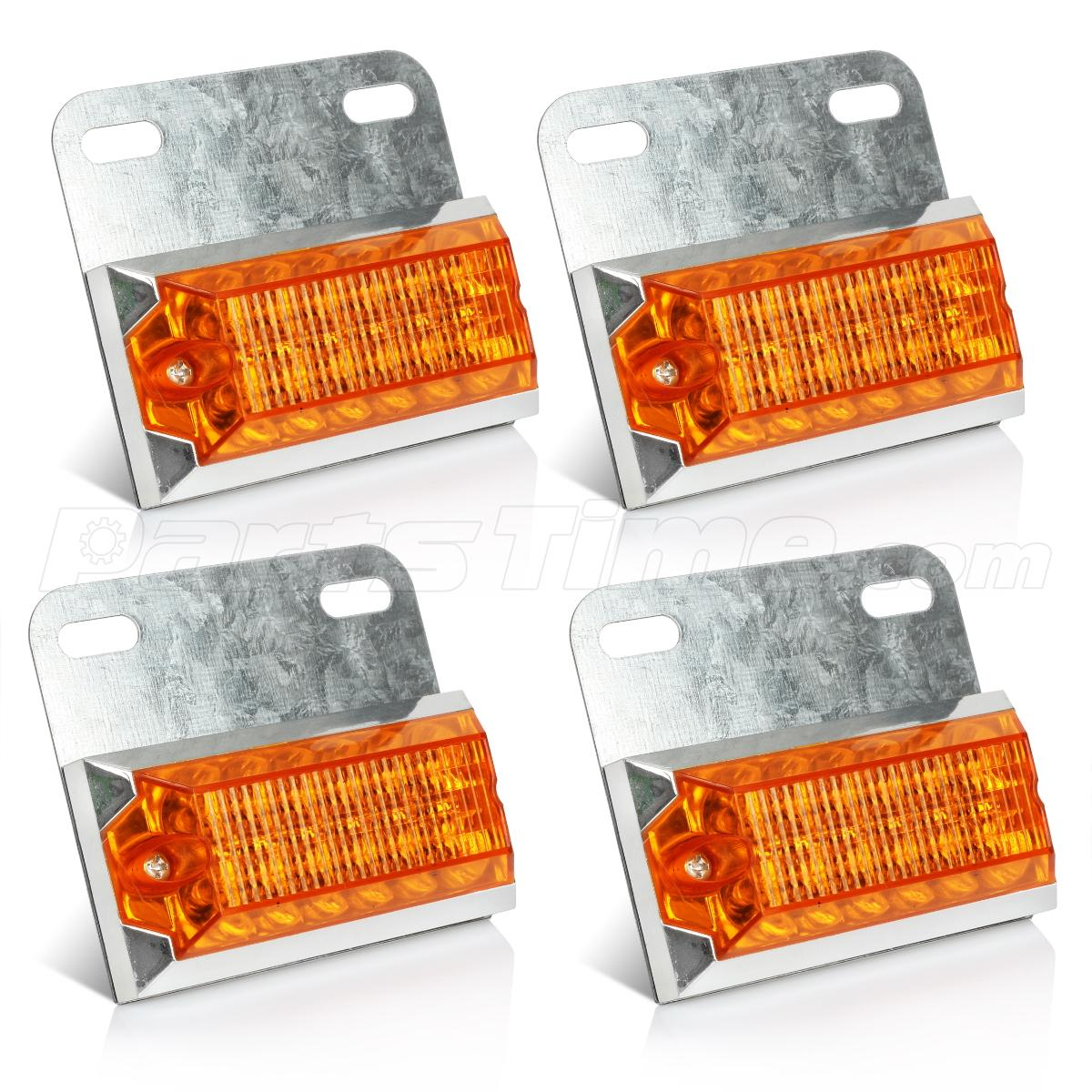 Commercial Vehicle Lighting: 4x Amber 12-LED Side Marker Led Lights Auto Warning Lights