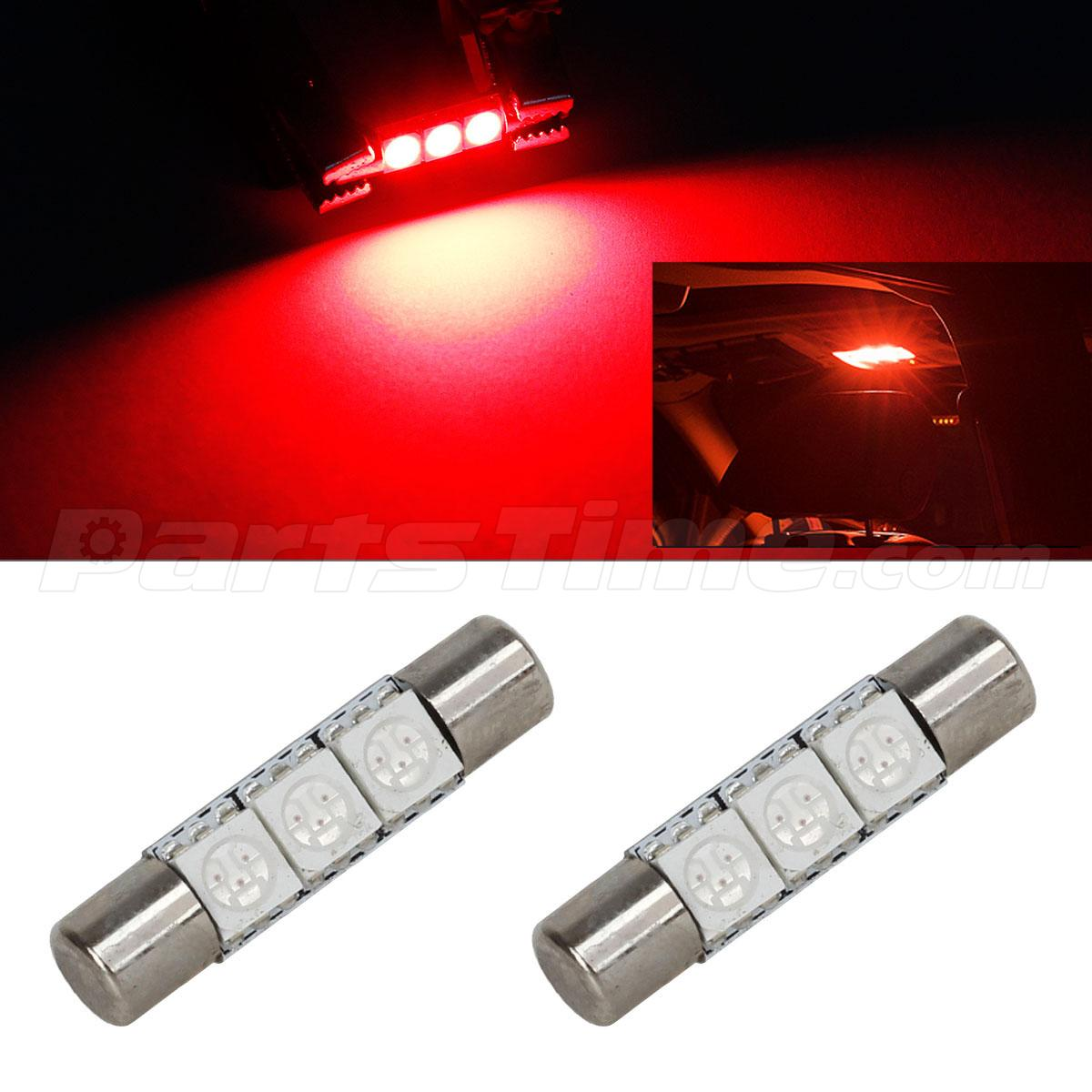 2pcs Red 3SMD 5050 LED Bulbs Car Interior Vanity Mirror Lights 6641 12V eBay