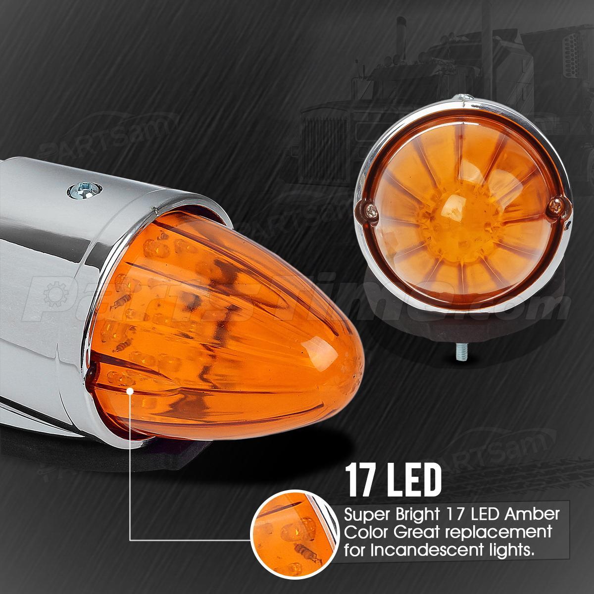 Led Lights For Semi Trucks >> Universal 17 LED Amber Torpedo Cab Roof Top Marker Light For Peterbilt Kenworth   eBay
