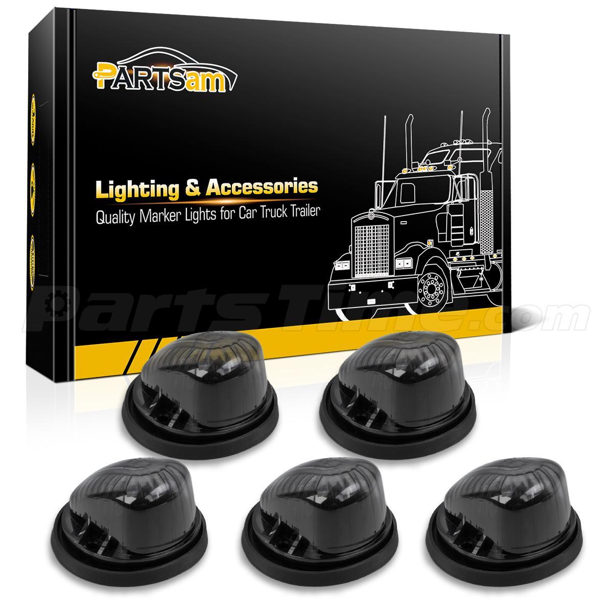 5 Roof Cab Marker Light Smoke Lens Cover 5xblack Base For