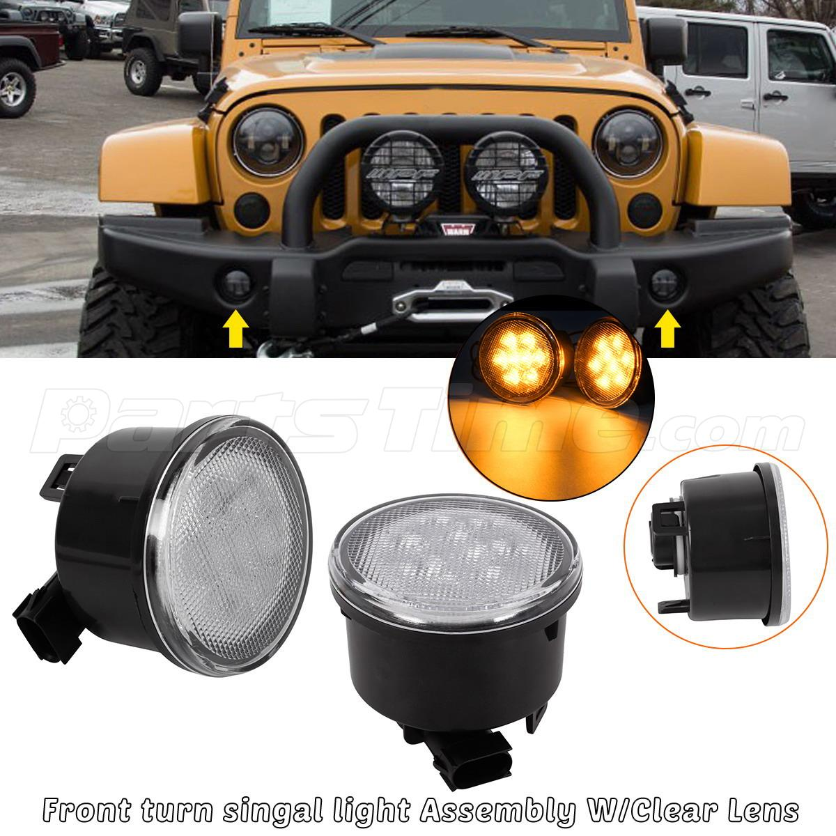 For 2007 2017 Jeep Wrangler Front Indicators Light Clear